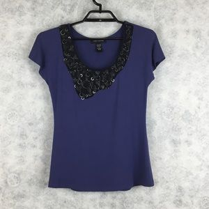 Cable & Guage Womens Purple Embellished Top Small